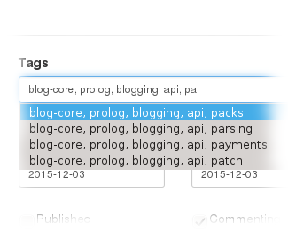 Blog-Core tag autocomplete