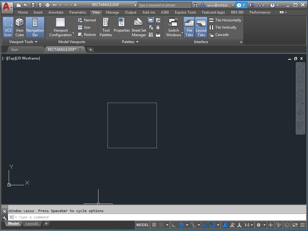 Minimal DXF rectangle in AutoCAD
